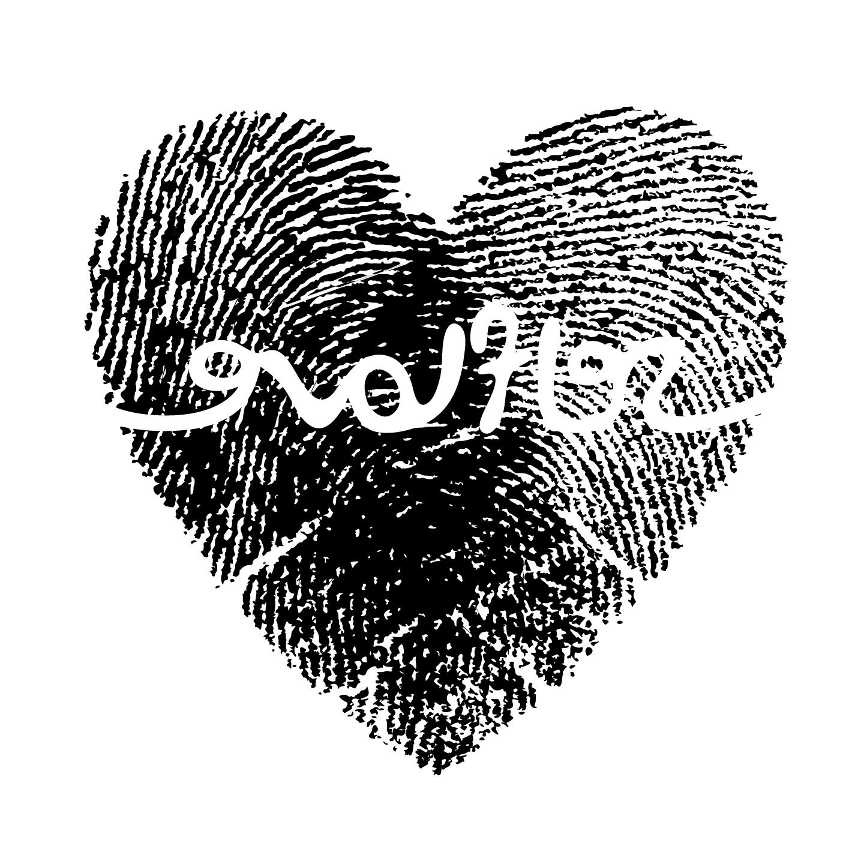 white on black heart