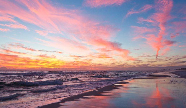 setting sun beach scene